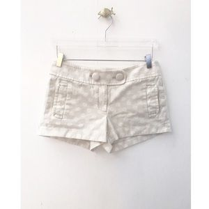 j. crew / beige white polka dot casual mini shorts